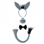 DONKEY SET WITH HEADBAND TAIL NOSE & BOW TIE FANCY DRESS COSTUME ACCESSORY
